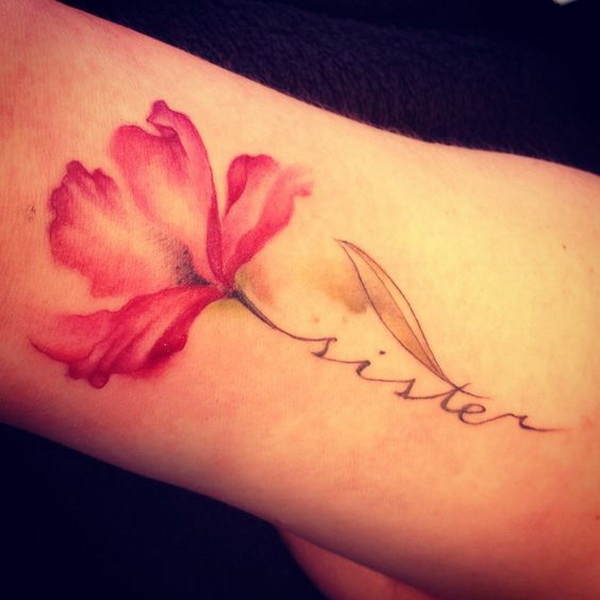 A Piece of Red Flower On Arm.