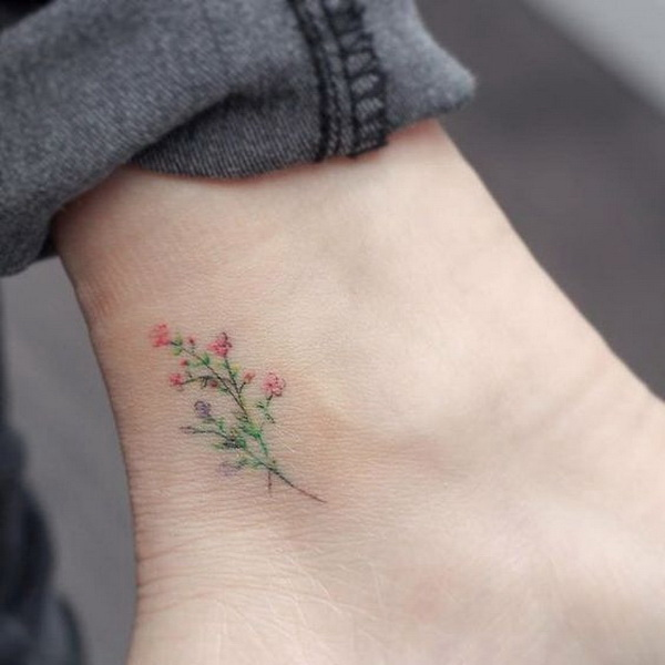 Subtle Microtattoo Pastel Floral Tattoo Design.