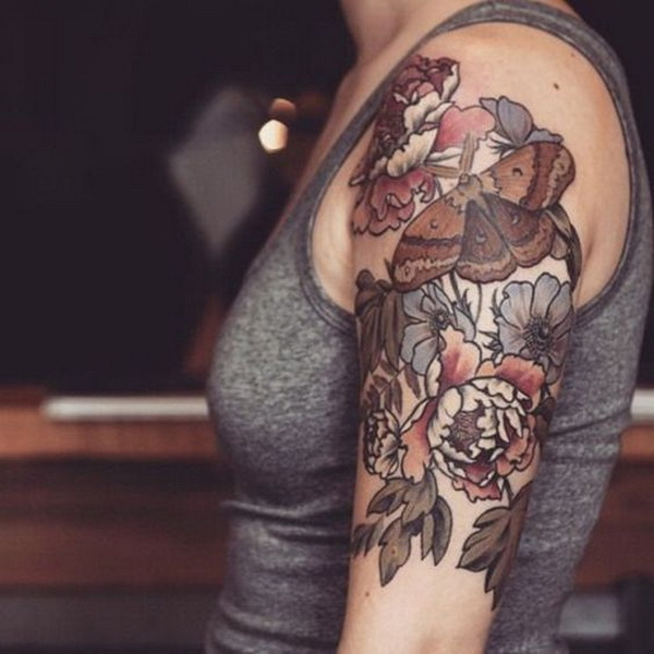 Brown Ink Floral Tattoo.