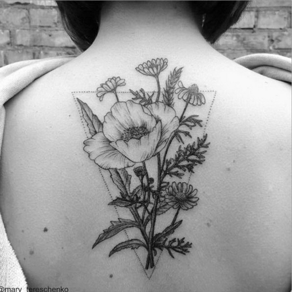 Colorless Floral Design on Back.