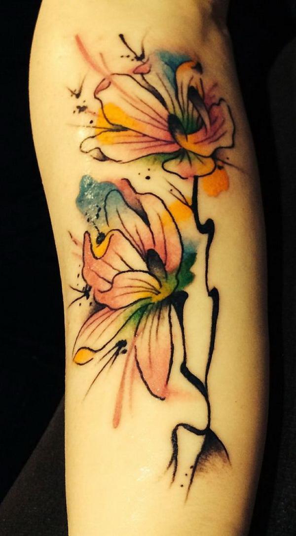 Water Color Magnolia Tattoo.