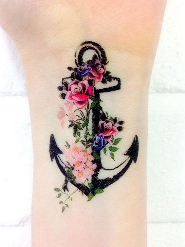Color Flowers and Anchor Wrist Tattoo for Women.
