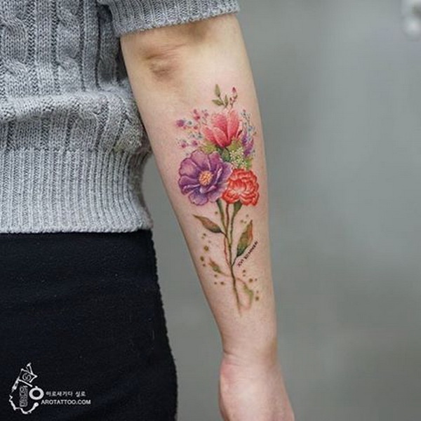 Floral Tattoo on Forearm.