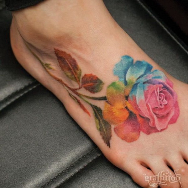 Giant Watercolor Rose Tattoo on Foot.