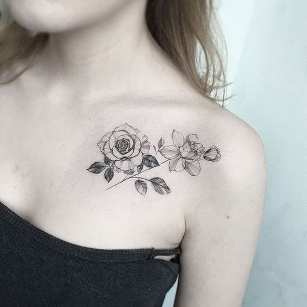 Blackwork Collarbone Rose.
