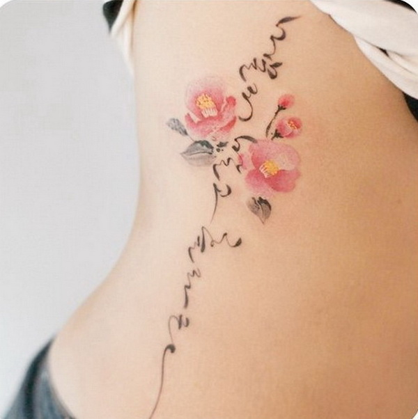 50 pretty flower tattoo ideas for creative juice camellia and korean calligraphy tattoo on side mightylinksfo
