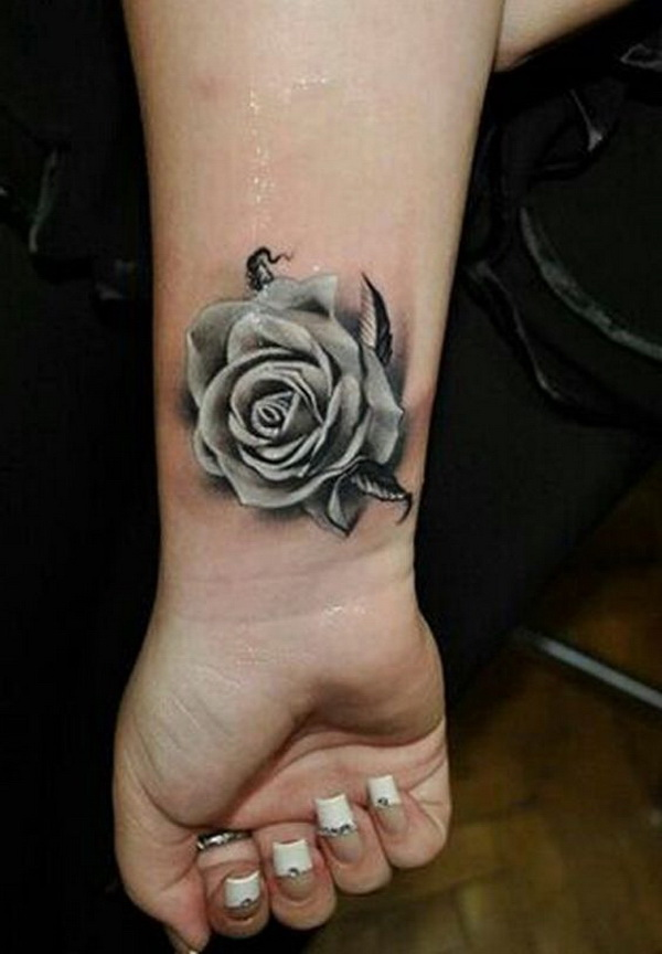 Gray Rose Tattoo on Wrist.