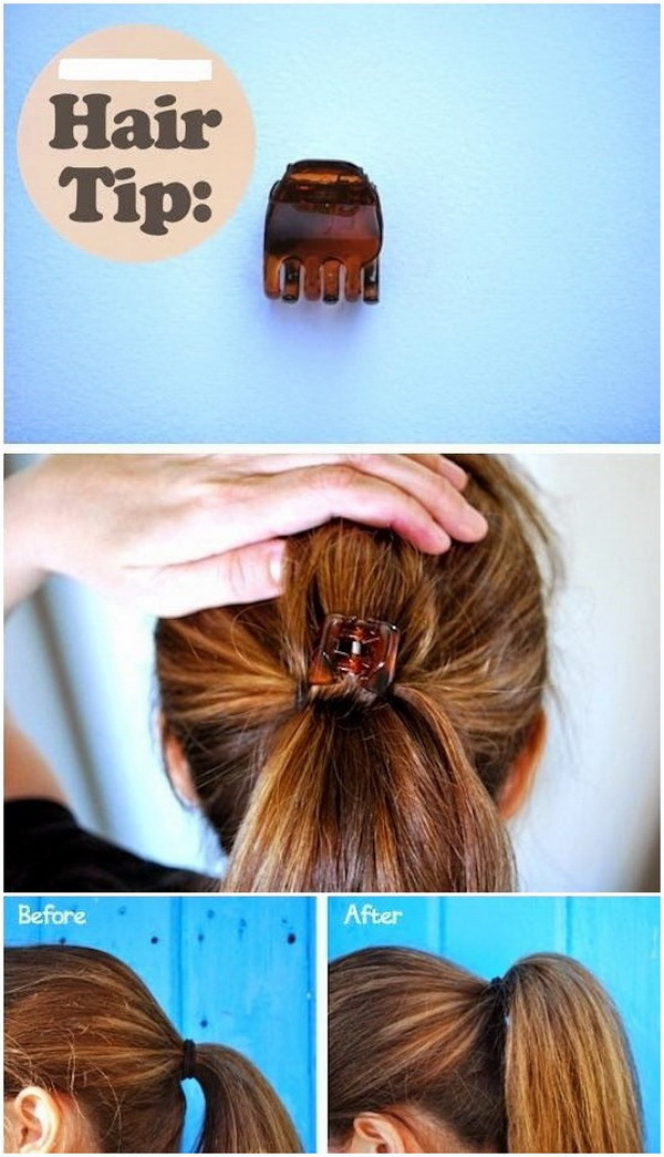 Another trick to get a fake ponytail by using a claw in the middle of your pony tail.