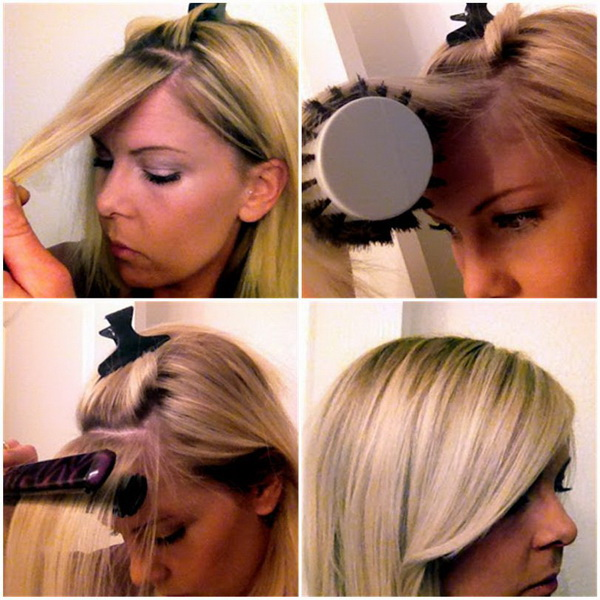 Still having trouble getting your bangs to lie down straight or stay that way? Here is a great tutorial to help you out. Use a flat iron or round brush to tame your cowlick and get perfect side-swept bangs.