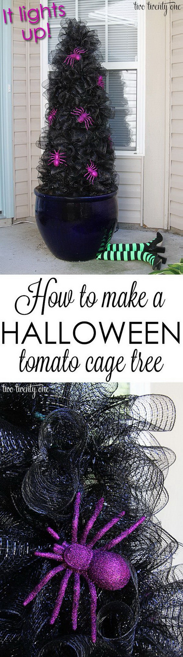 DIY Halloween Tomato Cage Tree For Halloween.