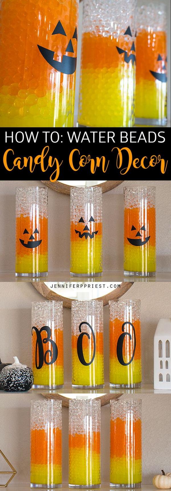 DIY Candy Corn Halloween Water Beads Vases.