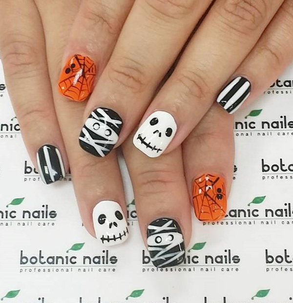 Zombie Halloween Nails. Halloween Nail Art Ideas.