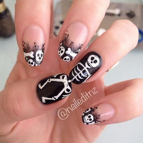 scary skull halloween nail art