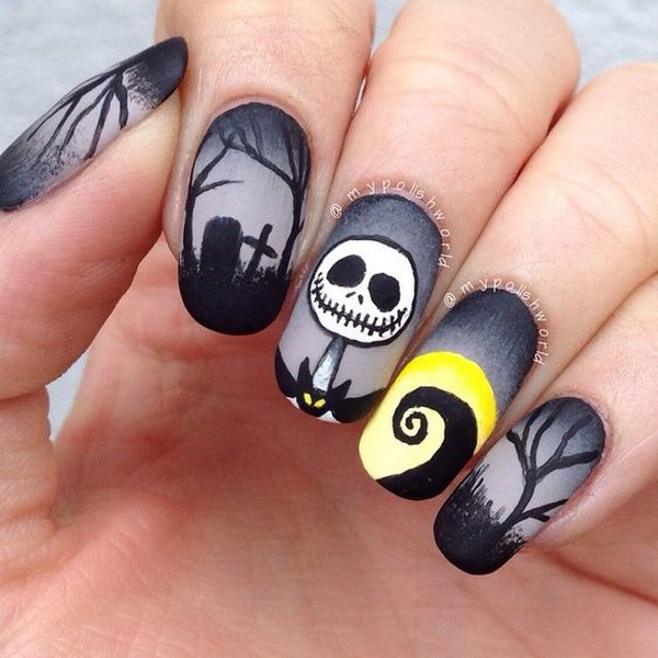 Dark Nightmare Nail Art for Halloween. Halloween Nail Art Ideas.