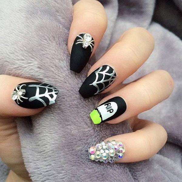 Rip Matte Halloween Themed Nails. Halloween Nail Art Ideas.