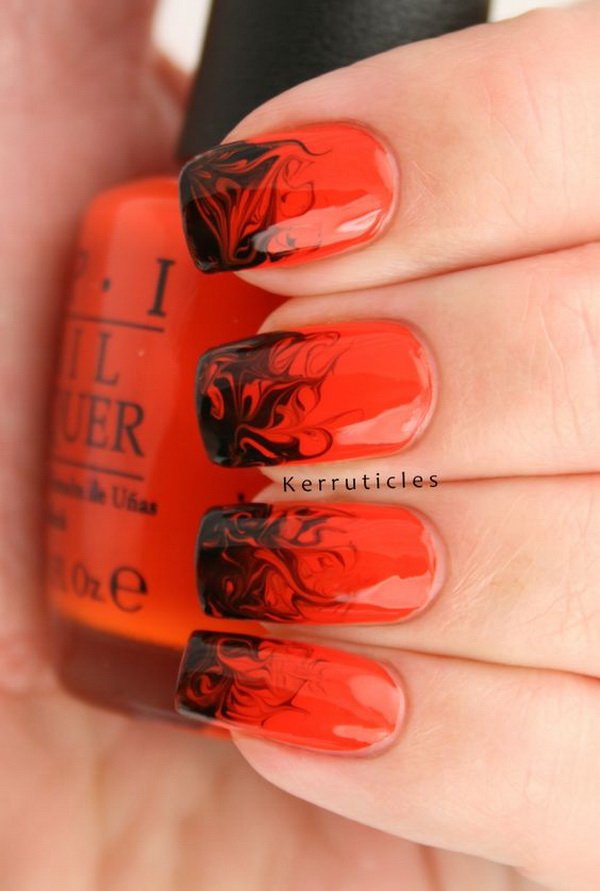 Red and Black Halloween Nail Design. Halloween Nail Art Ideas.