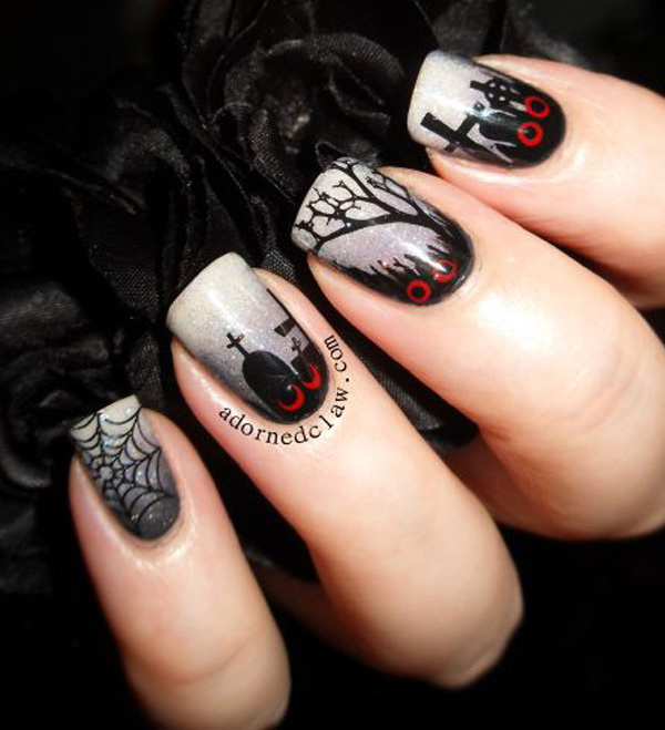 Creepy Cemetery Inspired Nail Art Design. Halloween Nail Art Ideas.