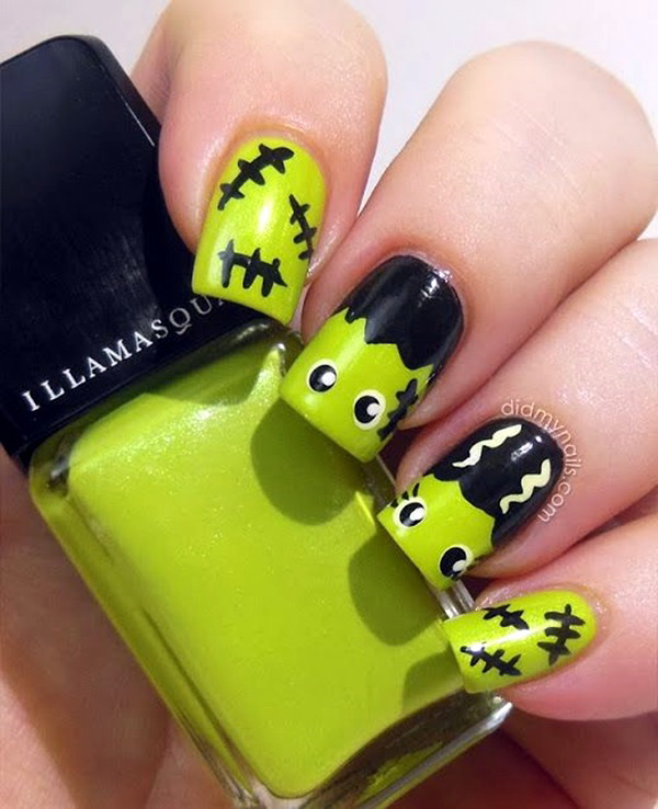 Frankenstein Halloween Fingernail Design. Halloween Nail Art Ideas.