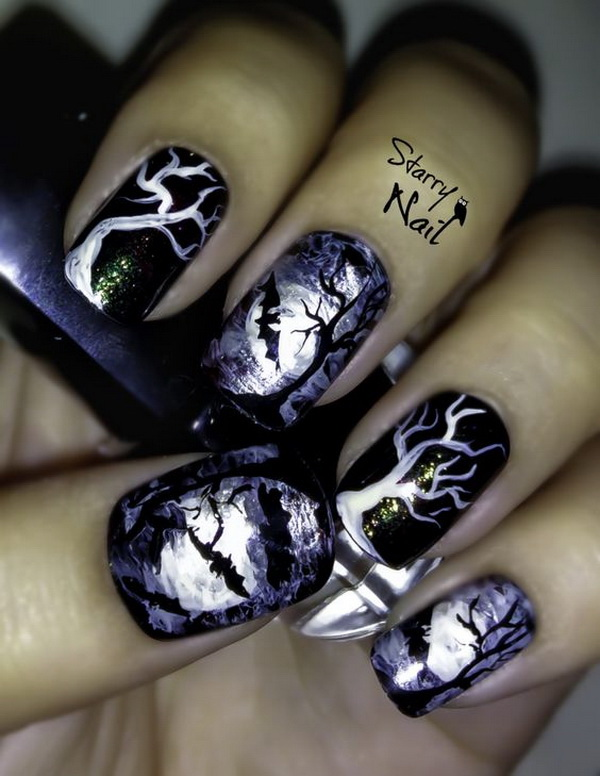 Scary Midnight Halloween Nail Designs. Halloween Nail Art Ideas.