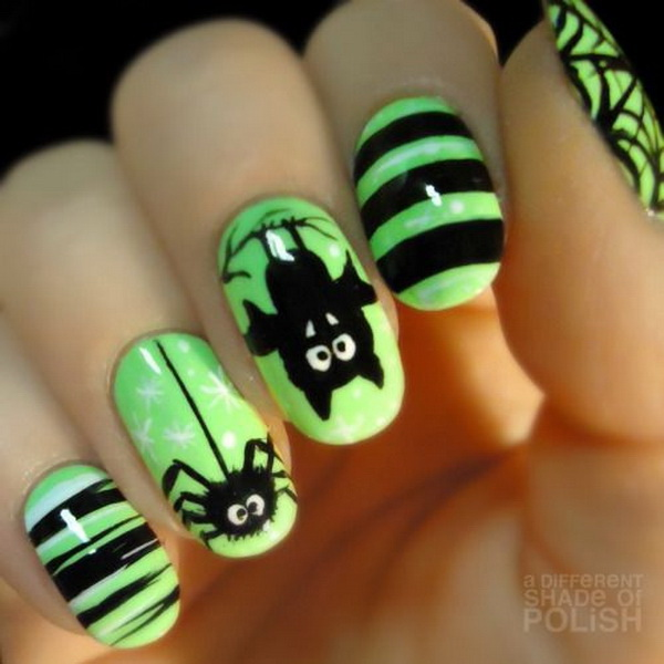Halloween Spider Nails. Halloween Nail Art Ideas.