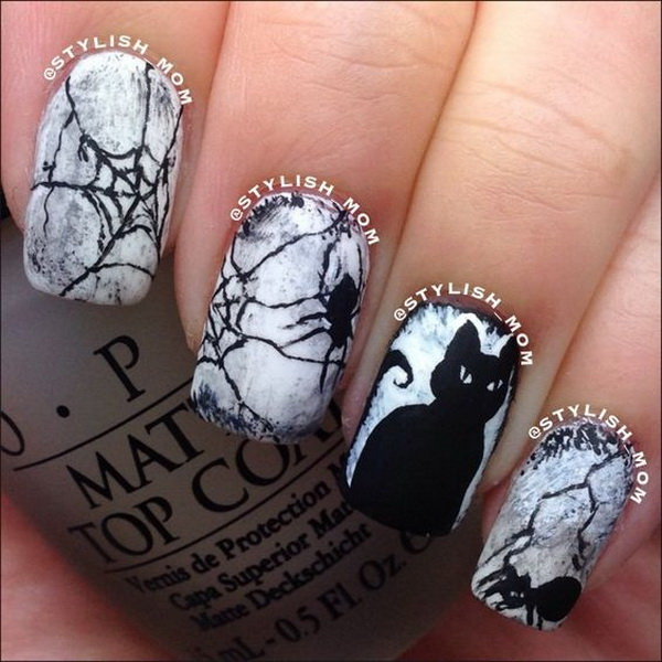 Cat Halloween Nail Art - 50+ Spooky Halloween Nail Art Designs - For Creative Juice