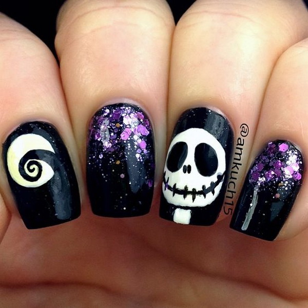Skull Halloween Nail Art with a Bit of Purple Sequins. Halloween Nail Art Ideas.