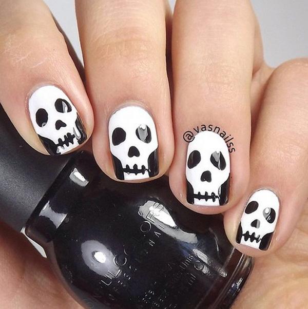 Scary Skeleton Faces Nail Art for Halloween. Halloween Nail Art Ideas.