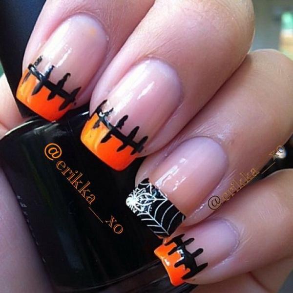 Simple Halloween Tipped Nail Design. Halloween Nail Art Ideas.