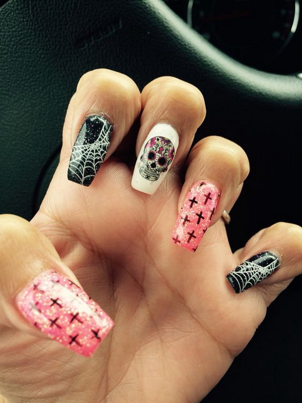 Sugar Skull Coffin Nail Art. Halloween Nail Art Ideas.
