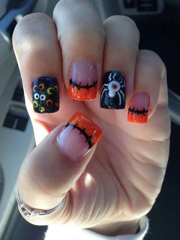 50 spooky halloween nail art designs for creative juice halloween gel design nails prinsesfo Gallery