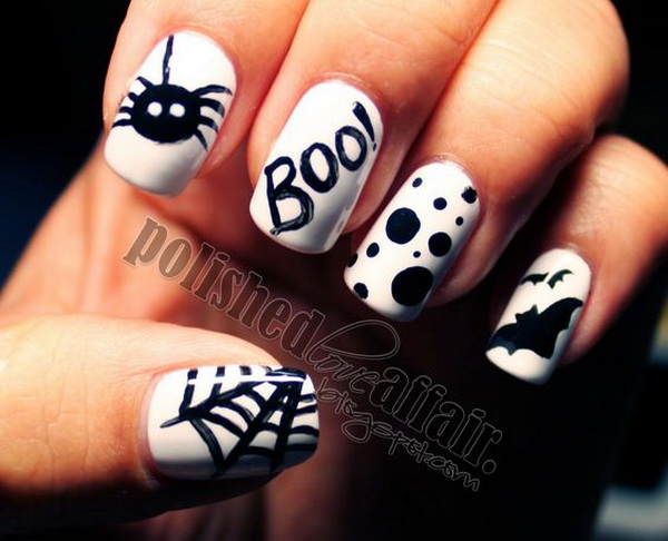 Black and White Nail Art Designs for Halloween. Halloween Nail Art Ideas. - 50+ Spooky Halloween Nail Art Designs - For Creative Juice