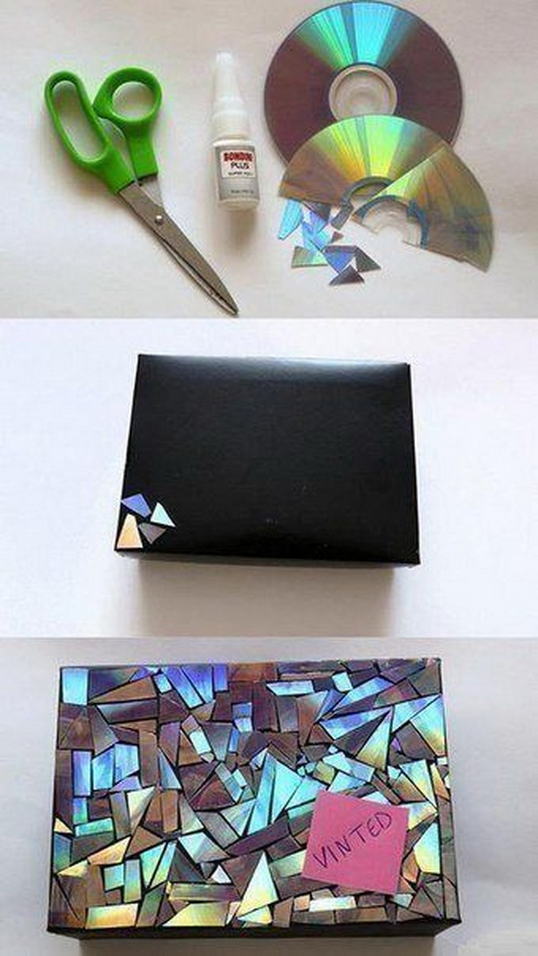 Gift Wrapping with CD Pieces.