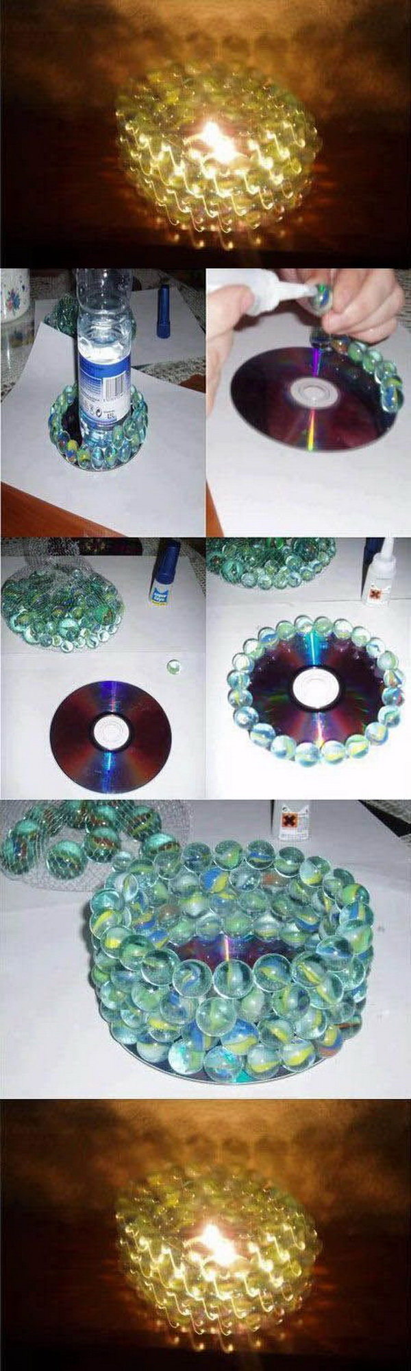 DIY Candle Holder Made with CD and Old Marbles.