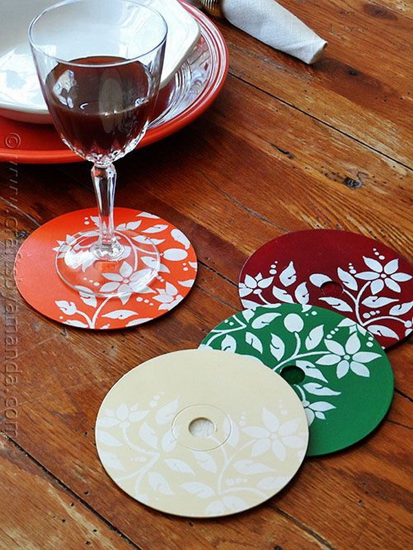 Recycle CD Coasters. These pretty coasters are made from recycled CDs or DVDs. Make some of your own to use or display or use as gifts.