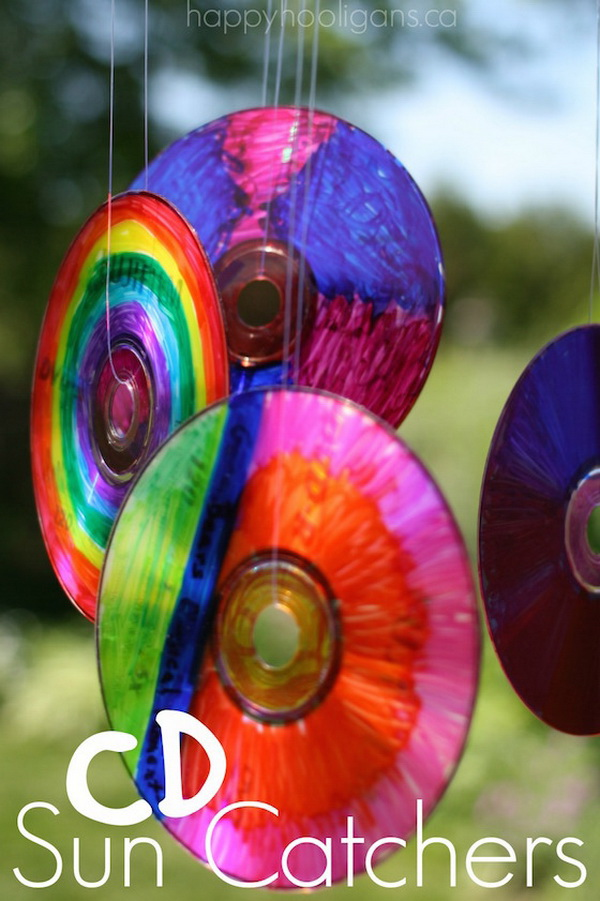 Colourful CD Sun Catchers. Turn a bunch of old compact disks into vibrant CD sun catchers. Hang them from a tree or on your deck, patio or balcony!