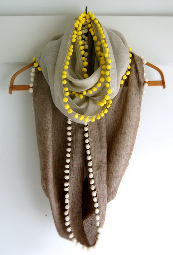 Long Pom Pom Cowl. Pom pom cowl, not only a beautiful scarf but also serves as a charming necklace.