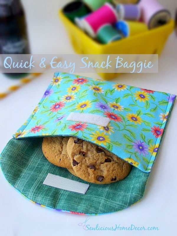 Quick and Easy Snack Baggie. Sew quick and easy snack baggies in any size. Use them as eco-friendly gift wrap for parties!
