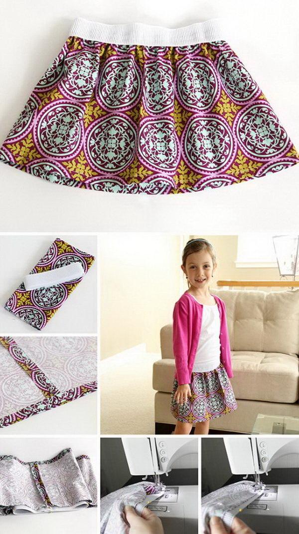 DIY Elastic Waist Skirt. DIY clothes for kids!