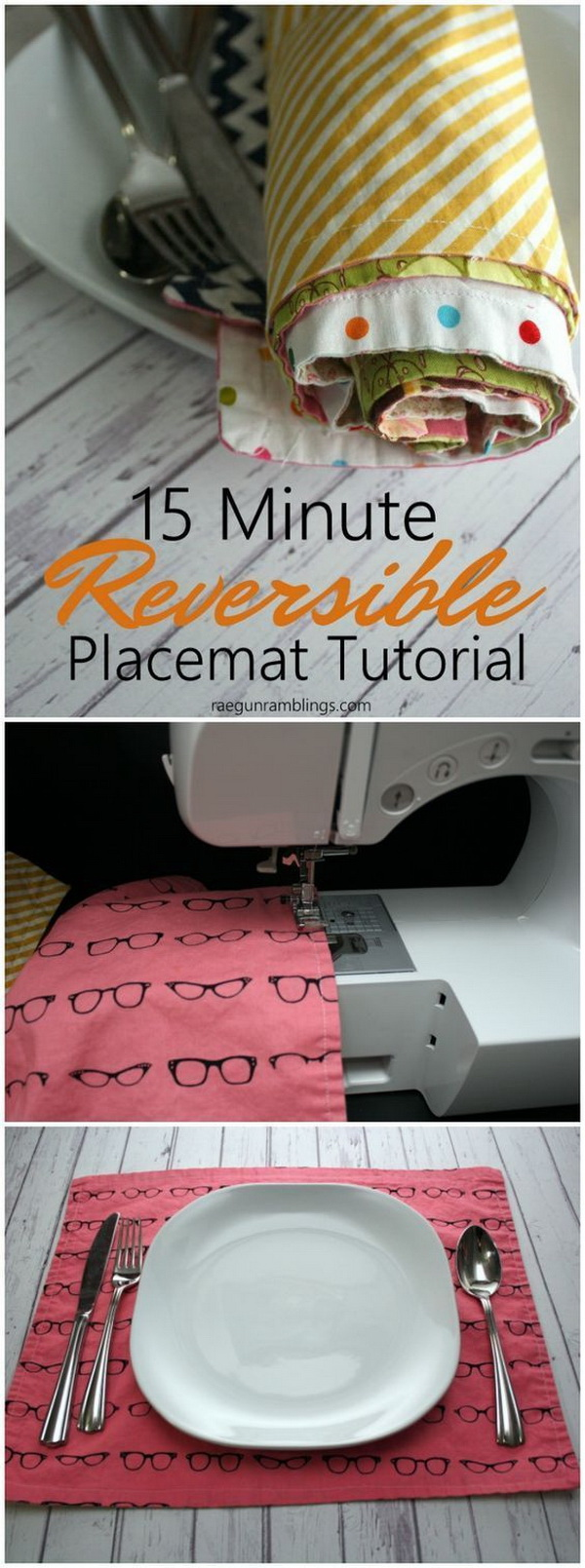 15 Minute Reversible Placemats. SO easy that kids could make them! Add a kind of homemade touch to your table!