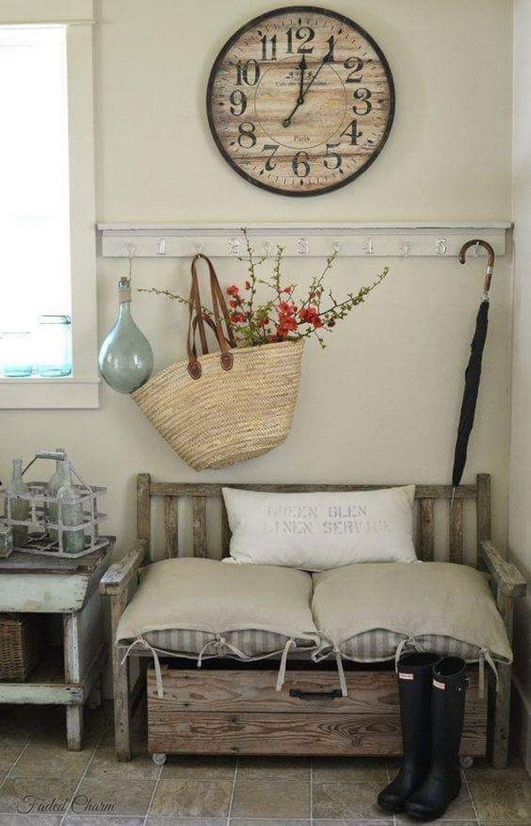 Shabby Chic Decor With A Sisal Woven Basket With Flowering Branches. The  Gray Walls And
