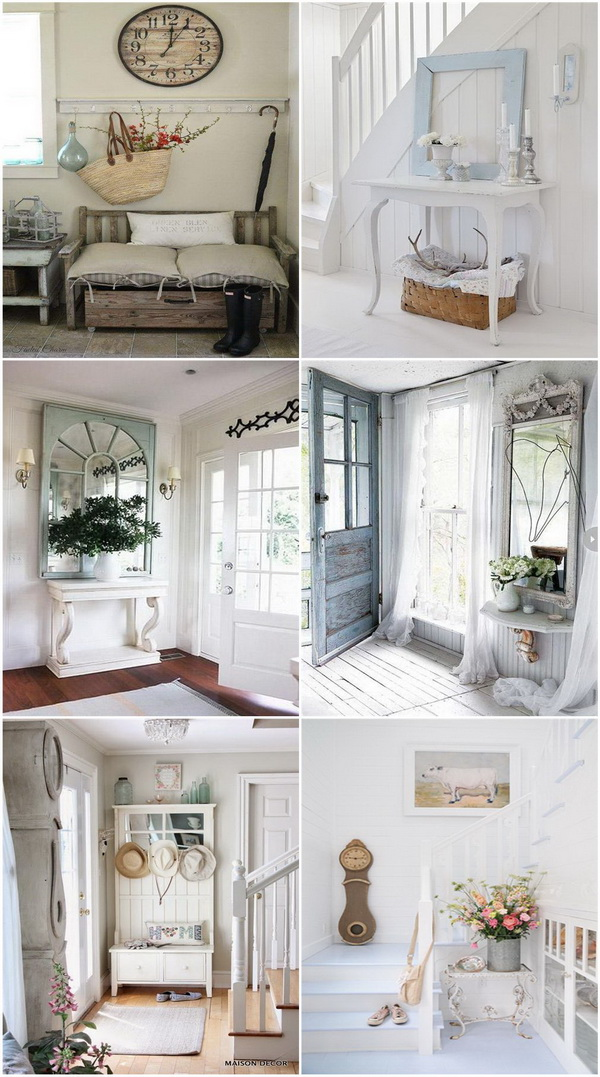 sweet cottage shabby chic entryway decor ideas for creative juice. Black Bedroom Furniture Sets. Home Design Ideas