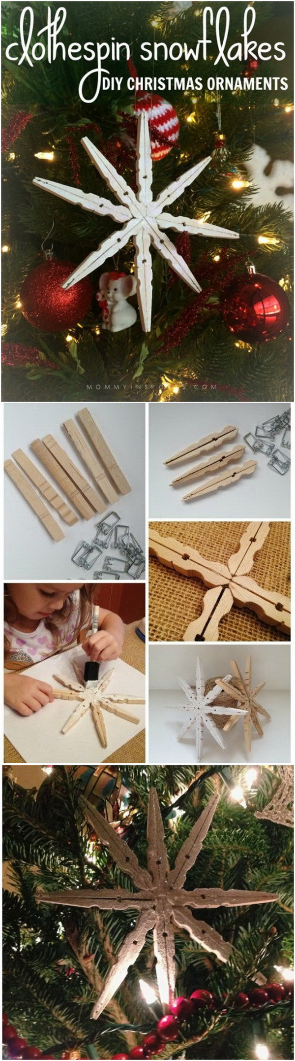 DIY Wooden Clothespin Snowflakes Ornaments.