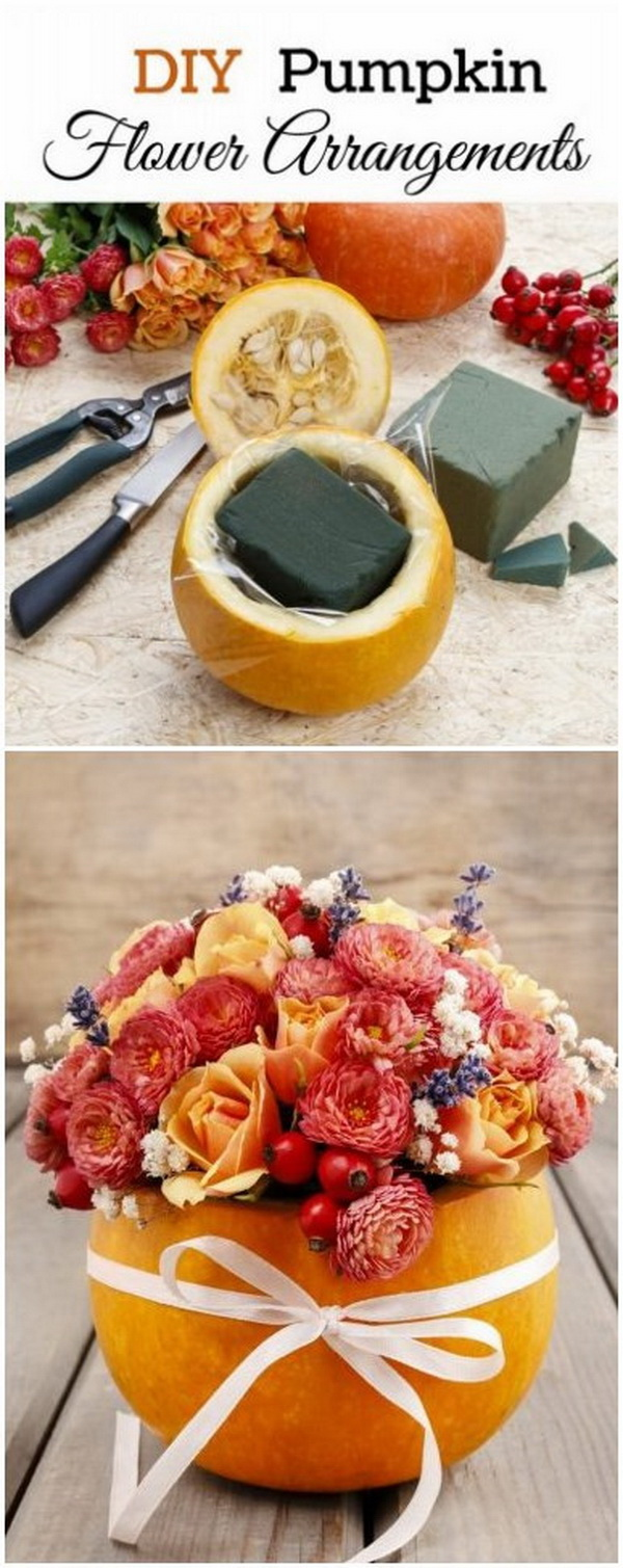 DIY Pumpkin Flower Arrangements. These pumpkin flower arrangements make beautiful decor pieces for your fall indoors and outdoors, too.
