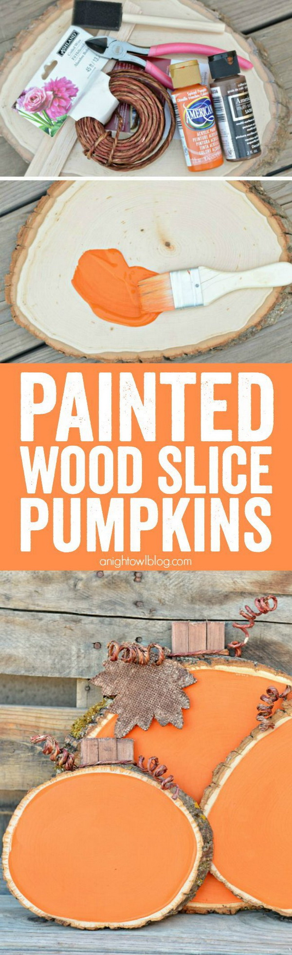 DIY Painted Wood Slice Pumpkins. Create these adorable wooden pumpkins with wood slices and some chalkpaint. They will add some color and whimsy to your Fall decor!