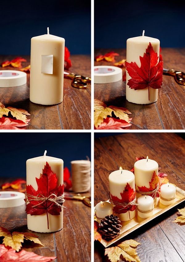 DIY Candles and Maple Leaves Centerpiece. Create a stunning centerpiece with candles and maple leaves. Super simple and super cute!