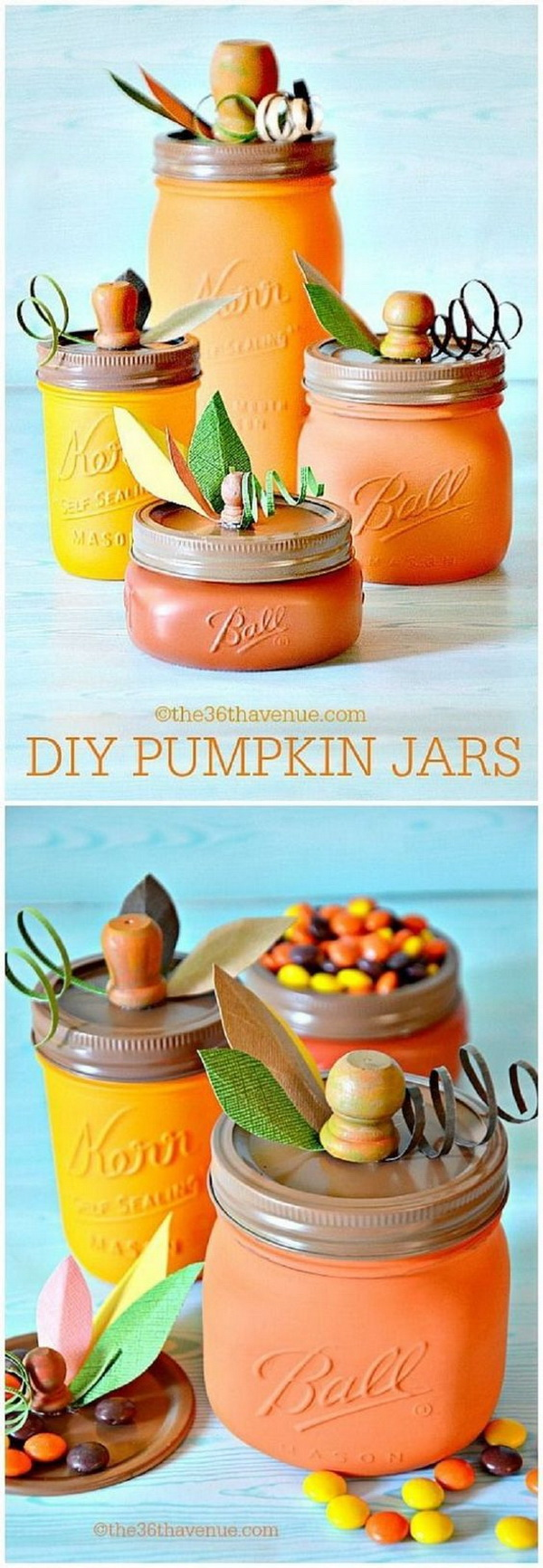 DIY Pumpkin Mason Jar. Using leftover glass jars to create these customized pumpkin mason jars. They are both thrifty and fun to do and make great fall decoration or used as gifts.