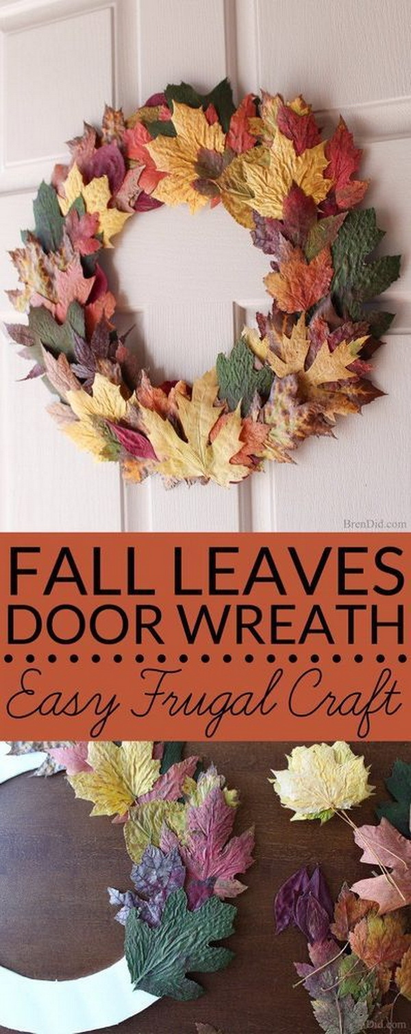 Fall Wreath With Fresh Leaves. Make my own gorgeous front door wreath from fresh fall leaves.