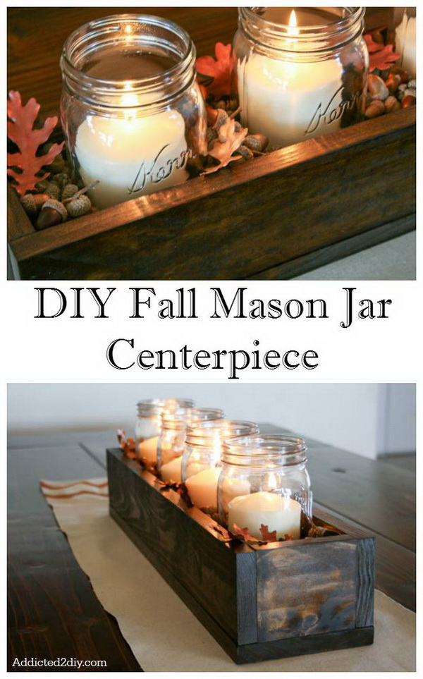 DIY Fall Mason Jar Centerpiece. Mason jars are all the rage for home decoration. Here is an easy DIY idea for you.