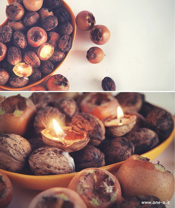 DIY Tealight Nuts Fall Centerpiece. Create these DIY tea light nuts for a rustic fall centerpiece.