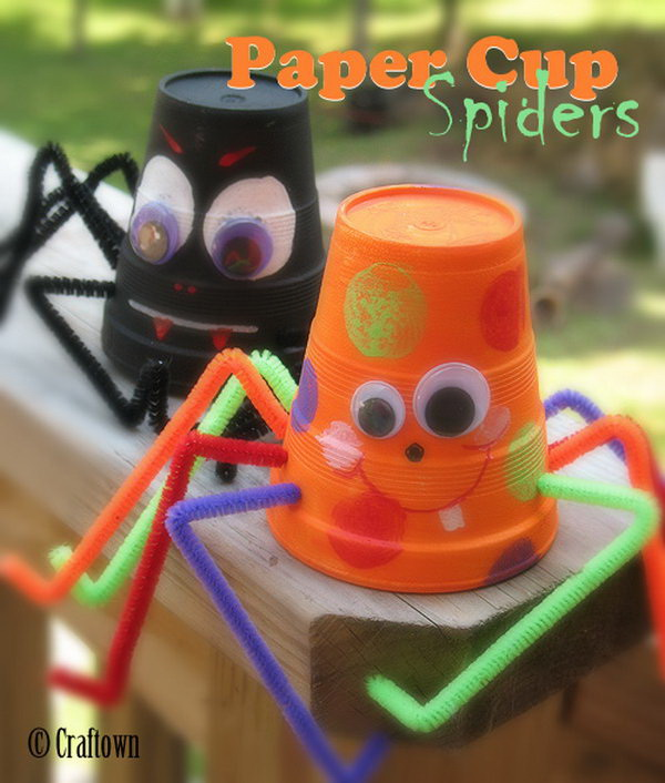 Cute Paper Cup Spiders and Bats. These paper cup spiders and bats are so easy for kids to make! They are such a cute halloween craft idea!